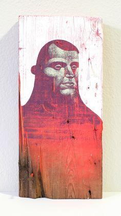 Gouache, acrylic, spray paint and enamel on found wood block