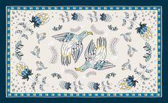 Ardmore Bird Fynbos Tablecloth Tanzanite