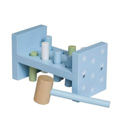 """Light blue pounding bench in wood. Included in the """"Pumpkin"""" series from Kids concept. Little Boy Toys, Toys For Boys, Little Boys, Baby Boy Nurseries, Baby Shop, Bookends, Interior Decorating, Pumpkin, Concept"""