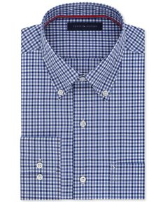 Tommy Hilfiger Men's Classic-Fit Non-Iron Dark Blue Check Dress Shirt