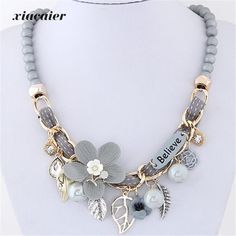 Xiacaier Cute/romantic Chokers Necklaces For Women Flower Leaves Multi-element Resin Beads Chain Chocker Necklaces Wedding Gift #Affiliate