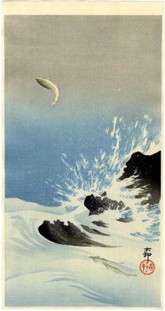 """Three Salmon, one jumping high above water splashing over rocks."" by Koson"