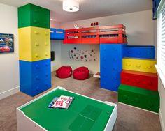 Wonderful Kids Room With Lego Storage Cube: Contemporary Lego Kids Room With Storage Space With Red Pouffe ~ cienmaneras.com Bedroom Inspiration