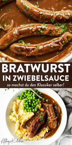 Bratwurst with onion sauce: Bangers and Mash Simply Homemade .-Bratwurst mit Zwiebelsauce: Bangers and Mash Simply Homemade! Patrick'… Bratwurst with onion sauce: Bangers and Mash Simply Homemade! Patrick's Day recipes – - Bangers And Mash, Guisado, Onion Sauce, Dinner Recipes, Dinner Ideas, Appetizers, Appetizer Dinner, Food And Drink, Drink Menu