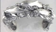Dolphin Large Sterling Silver Cuff Bracelet
