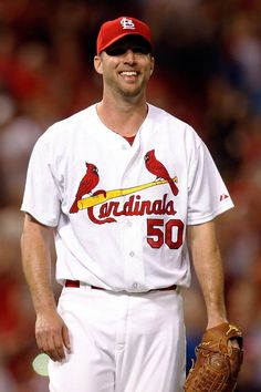 starting pitcher Adam Wainwright smiles after making the last out in the ninth inning of a one hit shutout baseball game against the Dbacks. 5-20-14.