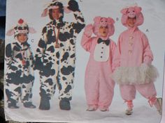 Cow & Pig Loose Fitting Jumpsuit Halloween Stage Play Costume Butterick 3051 Uncut Factory Folded Pattern Child Sizes XS to Large (2 to 10) Halloween Patterns, Costume Patterns, Mighty Morphin Power Rangers, Stage Play, Toddler Costumes, Needlepoint Kits, Felt Fabric, Vintage Sewing Patterns, Cow