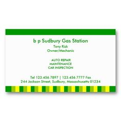 Professional bp Gas Station Business Card. It's two-sided with no additional charge, and totally customizable!
