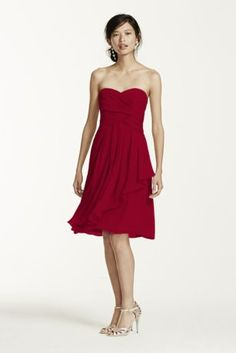 This strapless style is great for a bridesmaid and offers plenty of wear-again potential!  Ruching detail shapes a stunning sweetheart neckline that flatters any body type.  Crinkle chiffon flows to create a front cascade that adds dimension and romance.  Fully lined. Back zip. Imported polyester. Dry clean only.   Also available in extra length as Style 2XLF14847.