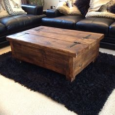 Handmade Rustic Coffee Table Chest Solid Timber Waxed