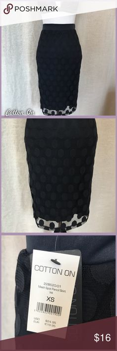 NWT Navy Pencil Skirt NWT navy blue, mesh pencil skirt from Cotton On, size xs. The mesh on the dots shows pilling, however it is just the style of the skirt, as I have this in another color in my personal closet and it is the same.  •I'm open to offers and negotiations on all items!• Cotton On Skirts