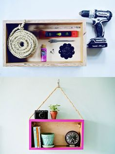 This a fun & original idea: make a simple and colored hanging shelf out of an old basic wooden box …
