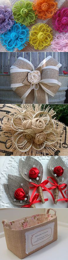 Flores de arpillera muy originales                                                                                                                                                                                 Más