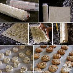 Receita enroladinho de parmesão e orégano -  Dicas de como fazer - Passo a passo com fotos - Tutorial with pictures - how to make oregano and parmesan cheese rolls  - DIY  - Madame Criativa - www.madamecriativa.com.br