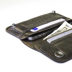 iPhone / iPod Touch - - RETROMODERN aged leather wallet - - MILITARY GREEN. $149.00, via Etsy.