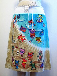 grateful dead skirts | Grateful Dead Beach Bears Tie Dye Skirt