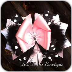 Light Pink and Black Polka Dot Over the TopBow  on Etsy or Facebook by Two Tiara's Bowtique