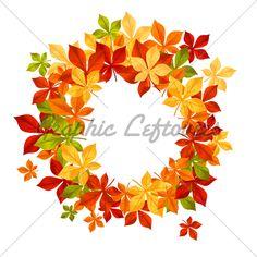 Autumn Falling Leaves In Frame For Seasonal or Thanksgiving design ~ digital art ~ wreath