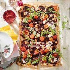 Plaattaart met bietjes, feta en tomaatjes