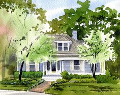 Custom Watercolor Home/House Portrait Painting Watercolor Architecture, Watercolor Landscape, Watercolor Paintings, Watercolors, House Illustration, House Drawing, Watercolor Portraits, House Painting, Kitsch
