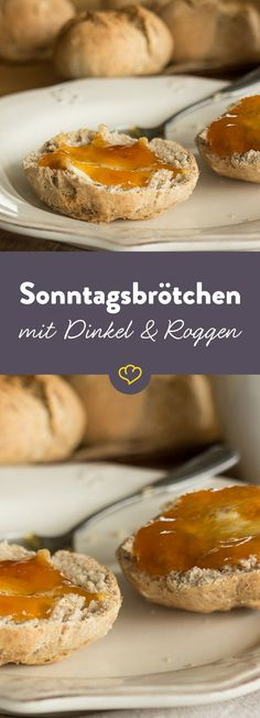 "Obwohl ""Sonntag"" im Namen steckt, schmecken die Dinkel-Roggen-Brötchen auch an … Although ""Sunday"" is in the name, the spelled and Homemade Soft Pretzels, Pretzels Recipe, Brunch Recipes, Bread Recipes, Baking Recipes, Rye Bread, Bread Rolls, Pretzel Turtle Recipe, Pretzel Desserts"
