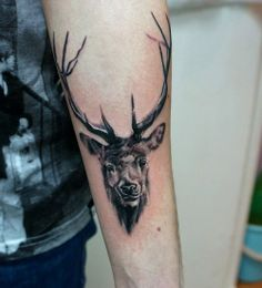 Animal tattoos are very adorable and a good example is a deer tattoo. There are other types of deer, like the Stag, which is somewhat different from the kind type. There's never been a better time to get a stag tattoo. Stag Tattoo, Tattoo You, Cute Tattoos, Beautiful Tattoos, Tatoos, Arm Tattoo Viking, Army Wife Tattoos, Wildlife Tattoo, Stag Head