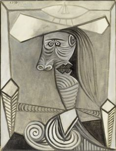 Pablo Picasso Bust of a Seated Woman, 1938 Pablo Picasso Drawings, Picasso Portraits, Picasso Art, Picasso Paintings, Oil Paintings, Landscape Paintings, Famous Artists Paintings, Indian Paintings, Oil Painting Abstract