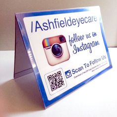 Color adjusted due to Instagram - This is a Table Tent design - Plastic Table Tents for Brands on Instagram! Custom Username Custom QR Code, Sturdy Plastic, learn more at http://followmesticker.com/products