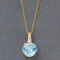 18K Over Sterling Blue Topaz,Diamond Pendant 18in