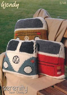"""Serenity, the very definition of being calm, peaceful and untroubled – and that's what you can achieve if you purchase this design of trendy cushions to knit. Styled to showcase the best of Volkswagen, the historic camper van, you can be the envy of your social circle by knitting this design featuring the Split screen and Bay Window of """"the people's automobile's"""" iconic creation, first introduced to the world in 1949. 3 balls of Wendy Serenity Super Chunky is all you will need to knit this…"""