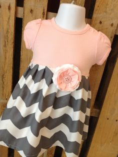 Baby pink top with grey chevron infant dress. Removable flower.Perfect for spring & summer. on Etsy, $28.00