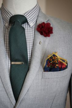 """Using a muted """"backdrop"""" of greys and checks allows the colors to really pop here. Courtesy: http://whatmyboyfriendwore.com/"""