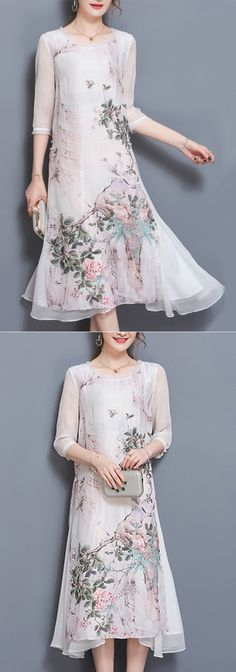 US$ 38.87 Vintage Casual Women Half Sleeve Print Dresses