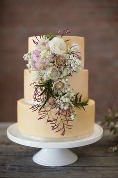 Lavender and yellow cake / photographed by Nikole Ramsay Photography