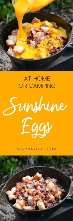 SUNSHINE EGGS - The very best camping breakfast with bacon, sourdough bread (or your favorite bread of choice) and farm fresh eggs. Great for camp food, but tastes just as great at home! And who doesn't love a one pan meal?