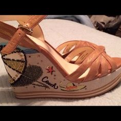 ‼️REDUCED 20%‼️ Coach 8.5 Super cute!! Worn once 1 in platform 4 in heel. More photos available Coach Shoes Sandals