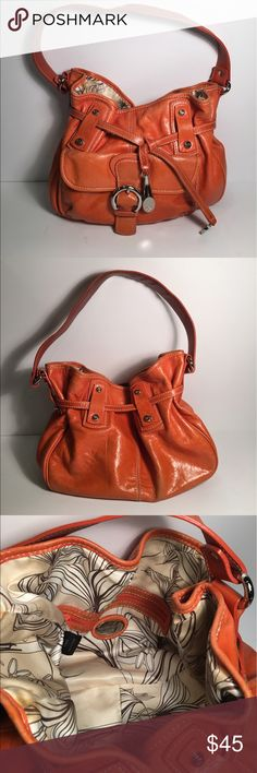 """🍊SALE! Francesco Biasia orange leather hobo purse Perfect Spring Bag! 100% cowhide leather bag with shoulder strap and silver hardware. Interior zip pocket and additional pockets for glasses and cell phone. 14"""" wide by 9"""" high by 5"""" deep.  Slouchy, hobo style. Price reflects some slight discoloration on back of purse at bottom (see last photo) Buttery soft and unique bag! Francesco Biasia Bags Hobos"""