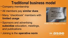 """Traditional business model • Company membership • All members pay similar dues • Many """"checkbook"""" members with limited usa..."""