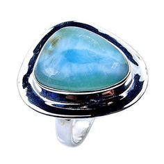 'Blue Jewel' Sterling Silver Rare Genuine Dominican Larimar Ring, Size 7.75