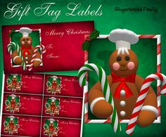 """Gingerbread Man """"Candy Canes"""" Gift Tag Labels - Digital Downlaod by DinkyPrints"""