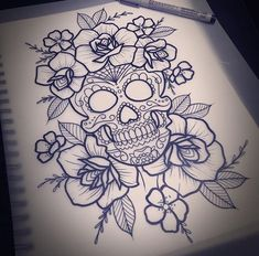 39 Spiritual Om Tattoo Designs To Know The 'meaning Of Universe - Tattoo Girly Skull Tattoos, Skull Thigh Tattoos, Sugar Skull Tattoos, Rose Tattoos, Leg Tattoos, Body Art Tattoos, Sleeve Tattoos, Flower Tattoos, Sugar Skull Drawings