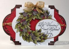 Karen Amidon used Serendipity Stamps Bayleaf Wreath and Let Heaven rubber stamps to make her card.