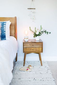 West Elm nightstand, a runner, and a wooden bed frame make this such a cozy bedroom The Glitter Guide Wooden Bedroom, Cozy Bedroom, Bedroom Decor, Bedroom Ideas, Master Bedroom, West Elm, Deco Retro, Wooden Bed Frames, Kids Room Wallpaper