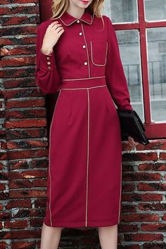 Pocket Waisted Elegant Flat Collar Long Sleeves Dress
