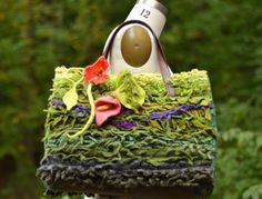 Large textured shoulder Wearable art BAG TOTE/ statement bag/Flower Purse with felted flowers, 23 inches leather handles Art Texture, Felt Leaves, Unique Handbags, Art Bag, Woodland Art, Green Bag, Felt Flowers, Leather Handle, Calla Lily