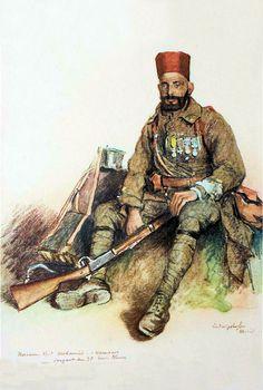 Les troupes coloniales en Rhénanie |  NACEUR Ben Mohamed, Sergent au 7e régiment de tirailleurs algériens, Ludwigshafen, avril1919