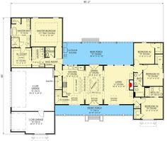 Exclusive Modern Farmhouse Plan with Split Bedroom Layout - floor plan -. Exclusive Modern Farmhouse Plan with Split Bedroom Layout – floor plan – Main Level Source by roandawg New House Plans, Dream House Plans, House Floor Plans, Split Level Floor Plans, L Shaped House Plans, Bedroom Layouts, House Layouts, Large Bedroom Layout, Ideas