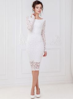 White Dress Fashion Long Sleeve Lace Slim Party Dress NOVASHE.com