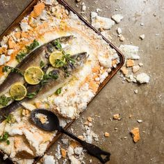 For your final fish, choose either this salt-baked branzino, some smoked oysters, or the endless possibilities of the oyster scallops. Seven Fishes, Smoked Oysters, Scallops, Fish Recipes, Vegetable Pizza, Dishes, Baking, Number, Food