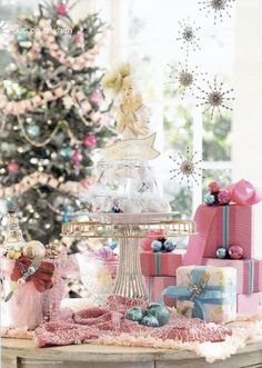 Maybe my 2013 Christmas because i may not have any room. A Pastel Christmas ~ Shabby Chic Christmas ~ Merry Christmas Everyone! Pink Christmas Decorations, Christmas Tree Themes, Christmas Love, Christmas Colors, All Things Christmas, Christmas Cookies, Christmas Holidays, Christmas Ideas, Snowman Cookies
